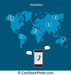Mobile phone international roaming, flat vector illustration...