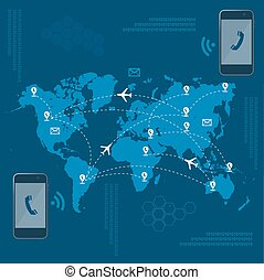 world data international roaming, flat vector illustration