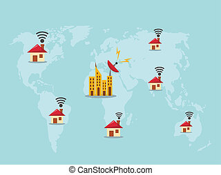 World map with wifi sign