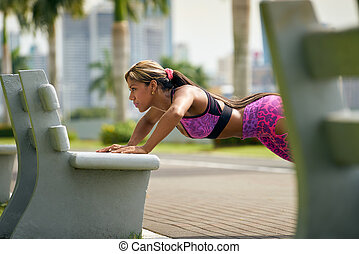 Woman Training Pectorals Doing Pushups On Street Bench-2 -...