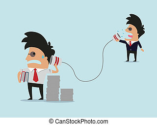 two businessman talking with cup telephone