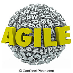 Agile Word 3d Letters Sphere Change Adapt - Agile word in 3d...
