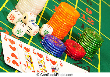 casino accessories - Casino chips,playing bones and royal...