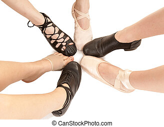 Female Dance Feet in Different Shoes - Six Styles of Dance...