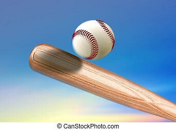 Baseball bat hitting ball under blue sky