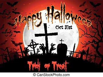Halloween grave on full moon backgr - Illustration of...