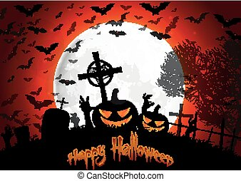 Halloween grave on full moon backgr - Illustration of...