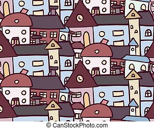 Seamless doodle pattern with houses