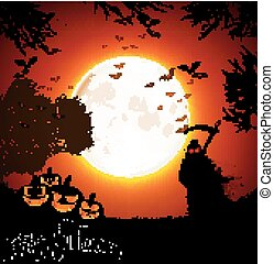 Halloween background with ghost and