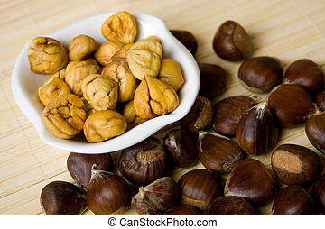 Chestnuts in a bowl - Cooked chestnut fruit served in a bowl