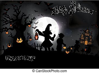 Halloween background with a little