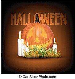 Halloween background with pumpkin w
