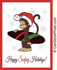Happy Surfing Holidays Surfer Monkey Greeting Card Design -...