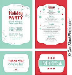Vector Winter Holiday Party Invitation Set Light blue Red...