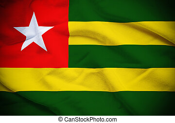 Togo Flag - Wavy and rippled national flag of Togo...