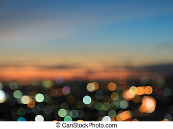 Blurred city lights bokeh - Blurred twilight sky background...