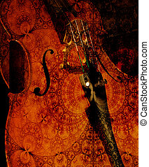 Cellos at Midnight - Cello crop overlaid with patterned...