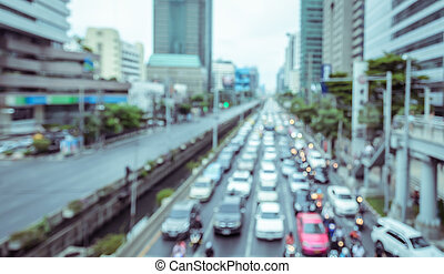 City rush hour with defocused cars