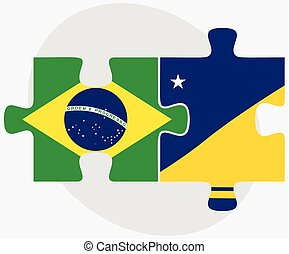 Brazil and Tokelau Flags in puzzle isolated on white...