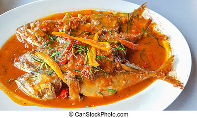 Fried fish with chili sauce