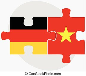 Germany and Vietnam Flags in puzzle isolated on white...