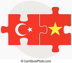Turkey and Vietnam Flags in puzzle isolated on white...