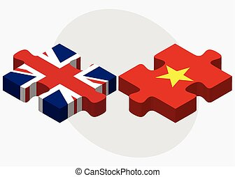 United Kingdom and Vietnam Flags in puzzle isolated on white...