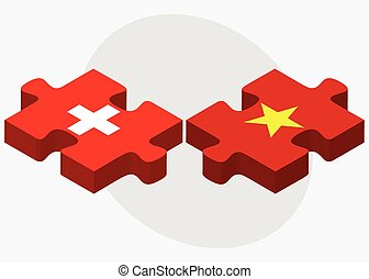 Switzerland and Vietnam Flags in puzzle isolated on white...