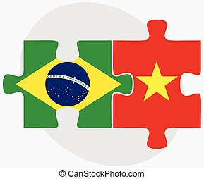 Brazil and Vietnam Flags in puzzle isolated on white...