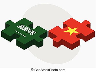Saudi Arabia and Vietnam Flags in puzzle isolated on white...