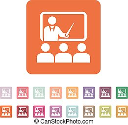 The training icon. Teacher and learner, classroom,...