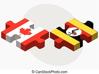 Canada and Uganda Flags in puzzle isolated on white...