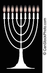 Menorh With Nine Candles - A menorah with nine lit candles...