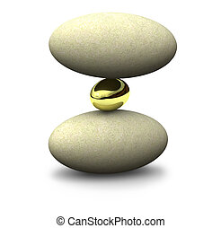 Balance - Three unequal objects are balanced on top of each...