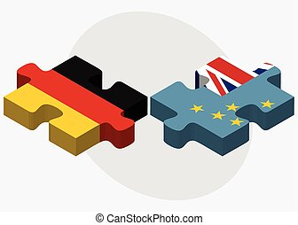 Germany and Tuvalu Flags in puzzle isolated on white...