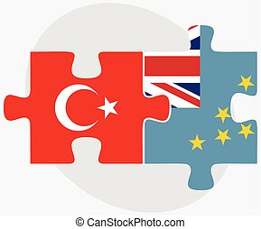 Turkey and Tuvalu Flags in puzzle isolated on white...