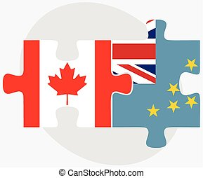 Canada and Tuvalu Flags in puzzle isolated on white...