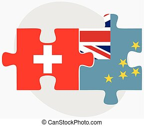 Switzerland and Tuvalu Flags in puzzle isolated on white...