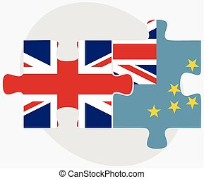 United Kingdom and Tuvalu Flags in puzzle isolated on white...