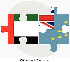 United Arab Emirates and Tuvalu Flags in puzzle isolated on...