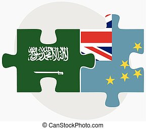 Saudi Arabia and Tuvalu Flags in puzzle isolated on white...