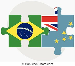 Brazil and Tuvalu Flags in puzzle isolated on white...