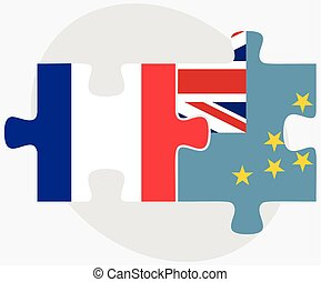 France and Tuvalu Flags in puzzle isolated on white...
