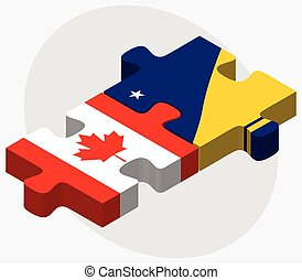 Canada and Tokelau Flags in puzzle isolated on white...