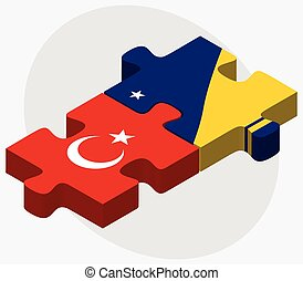 Turkey and Tokelau Flags in puzzle isolated on white...