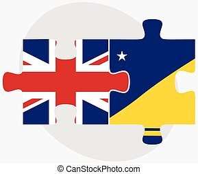 United Kingdom and Tokelau Flags in puzzle isolated on white...