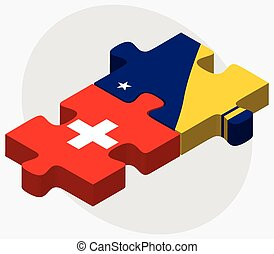 United Arab Emirates and Tokelau Flags in puzzle isolated on...
