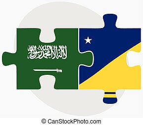 Saudi Arabia and Tokelau Flags in puzzle isolated on white...