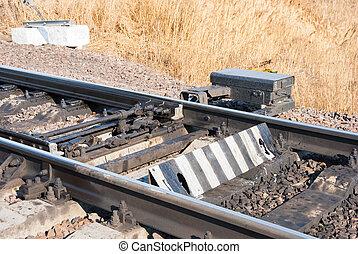 railway switch - An old railway switch on train tracks.