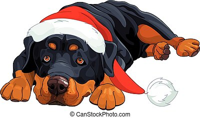 Christmas Rottweiler - Illustration of beautiful Christmas...